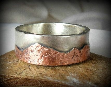 Mountain range silver and copper wedding band Men's by Marajoyce