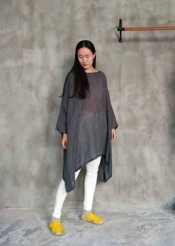 199Leinen Gaze grau Kleid / Tunika / Shirt Plus Size von EDOA