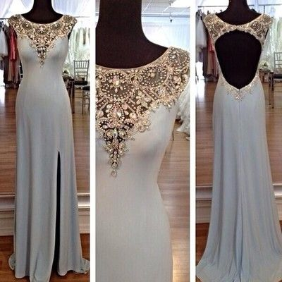 P25 scoop tank crystal beaded side slit light blue long chiffon unique prom…