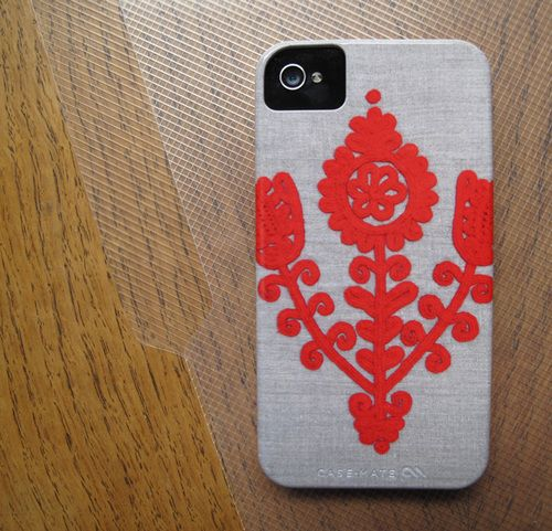 Cell phone case with image of Anna's embroidery. $28 available here at http: www.threadwritten.bigcartel.com