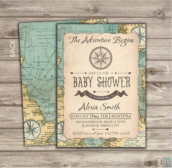 19 best the adventure begins map compass baby shower theme images, Baby shower invitations
