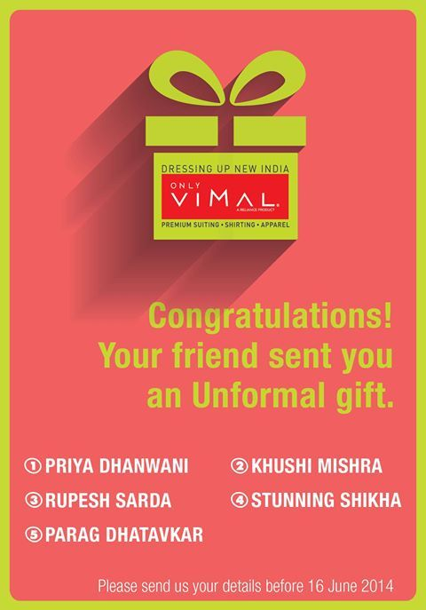 Congratulations to all the winners on winning the Gift voucher from OnlyVimal. Don't forget to DM us your contact details