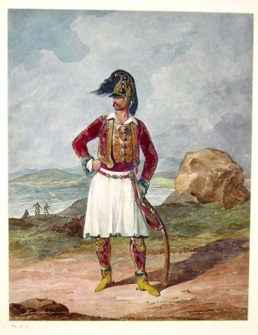 Denis Dighton (1792-1827)   Field Officer. The Duke of York's Greek Light Infantry, 1813. Single figure facing in foreground. Mountains in background with water in middle ground centre to left.