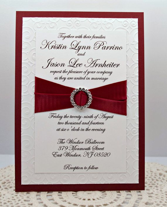 elegantly embossed wedding invitation in by invitebling on etsy 450