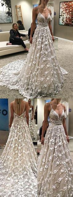 Lace Appliques Wedding Dress,Sexy Long Wedding Dresses,Spaghetti Straps Bridal Dresses with Flower from fashiondressee