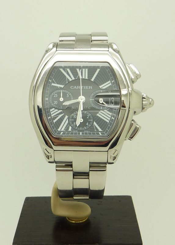S.Steel XL Cartier Roadster Automatic Chronograph Watch Ref. 2618 B&P