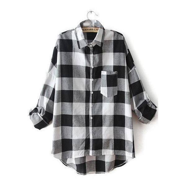 SheIn(sheinside) Black White Lapel Plaid Pocket Blouse ($20) ❤ liked on Polyvore featuring tops, blouses, shirts, flannel, sheinside, black, black button shirt, black long sleeve blouse, long sleeve blouse and black and white blouse