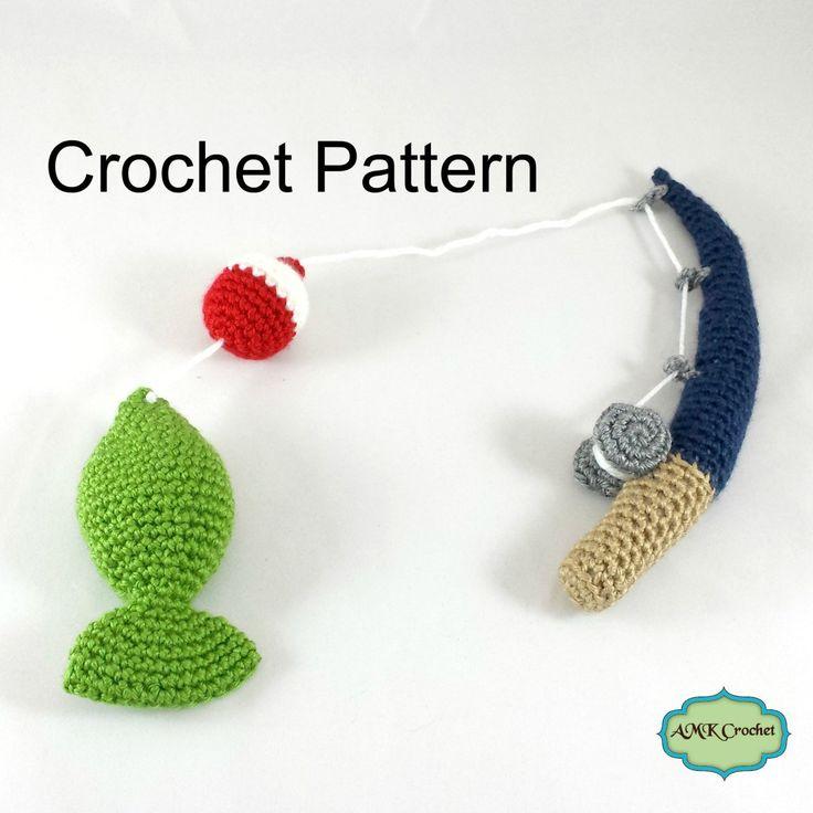Crochet Fishing Pole, with Bobber, and Amigurumi Fish ...
