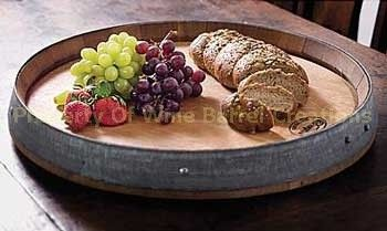 Wine Barrel Head Lazy Susan With Band Solid oak from a NV Winery, via Etsy.