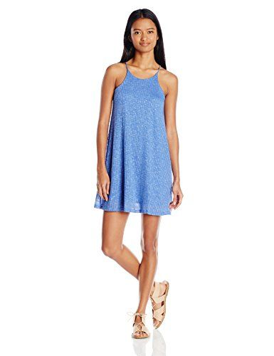 awesome Derek Heart Junior's Sleeveless Halter Neck Marled Trapeze Dress, Blue Glove, Small