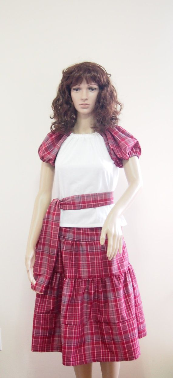 Jamaican bandana traditional madras bandana skirt set with sash/head tie The cotton white shirt with flutter sleeve complements the tiered