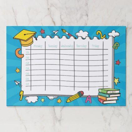 Monogram. Kawaii Cute School Timetable Paper Pad - initial gift idea style unique special diy