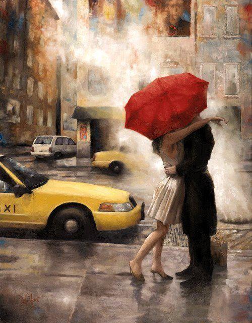 """""""Llueve sin ruido, pero bajo el paraguas  funciona el beso"""" Mario Benedetti; Pintura  por Daniel Del Orfano"""