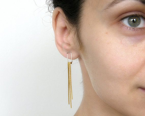 These fringe earrings are handmade of genuine sterling silver and brass. These tassel earrings are bohemian yet minimalistic can be perfect for your casual or evening outfit.  These fringe earrings are 6cm=2.36 inch long and the thickness of the wire that goes inside your ear hole is 0.8 mm- 20 gouge. If you would like another length, size or finish please write me!  These earrings come with sterling silver ear backs. Custom orders are welcomed and every listed item can be adjusted to yo...