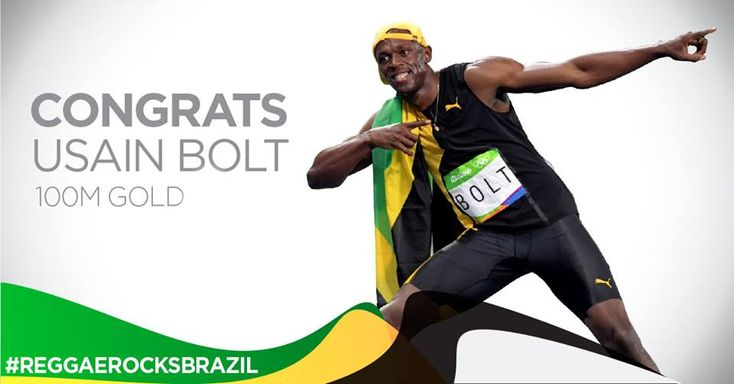 Team Jamaica is faster than lightning! Congratulations to Usain Bolt, a living legend! #ReggaeRocksBrazil #JAM