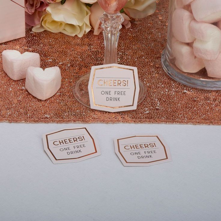 Add these drinks tokens to your table settings and invite your guests to toast your special day in style Supplied in packs of 25 the tokens feature a