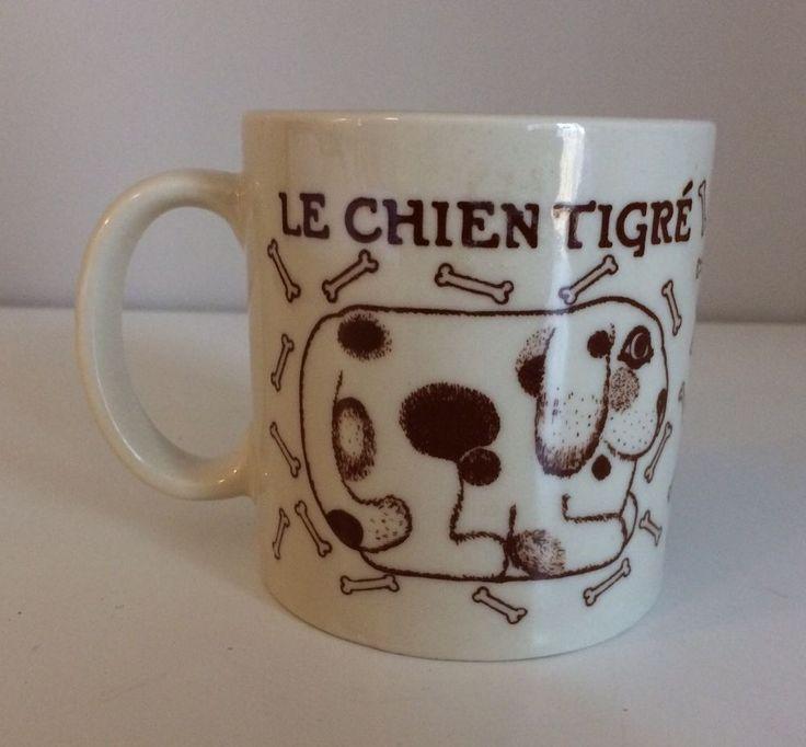 Vintage Taylor & Ng Le Chien Tigre Dog Coffee Mug Cup Japan Puppy Bones #TAYLORNG