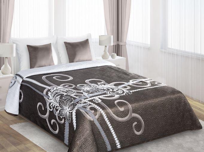 Dwustronne brązowe narzuty na łóżko z białym kwiatem