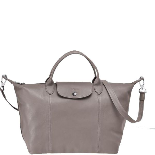 Longchamp Le Pliage Cuir Medium Handbag Gray