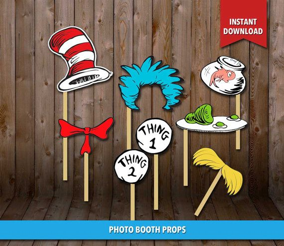 50% OFF  Dr Zeuss Photo Booth Props and/or Cutouts by CLPrintable