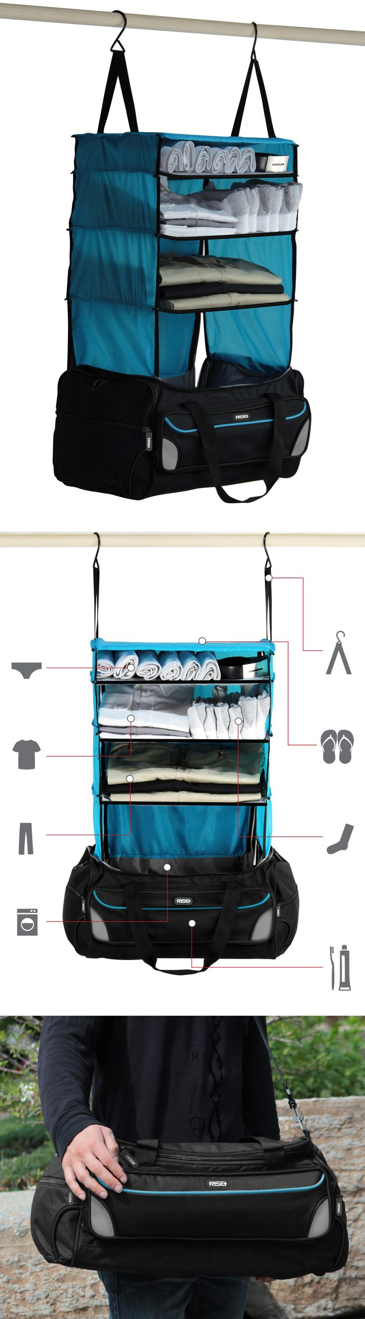 Rise and Hang // Forget unpacking, this clever weekender bag has built-in hanger shelves! Genius - I NEED this for travelling! #product_design: