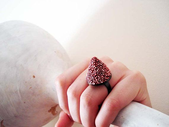 Red cone ooak polystyrene adjustable ring in red and by Joogr, €13.00