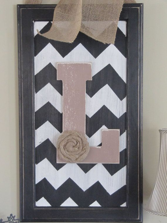 Chevron sign with customized letter from by BlessHerHeartDesigns