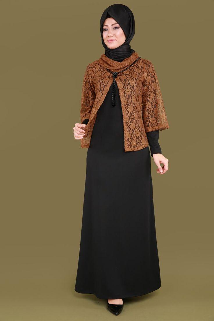 Bluzu Dantel 2'li Kombin KNZ5090 Tarçın&Siyah
