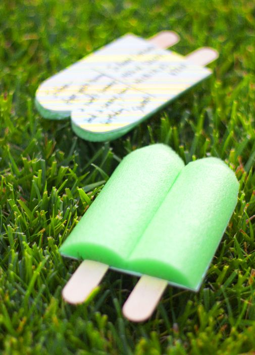 Pool noodle turned Popsicle postcard (invite for a summer party)