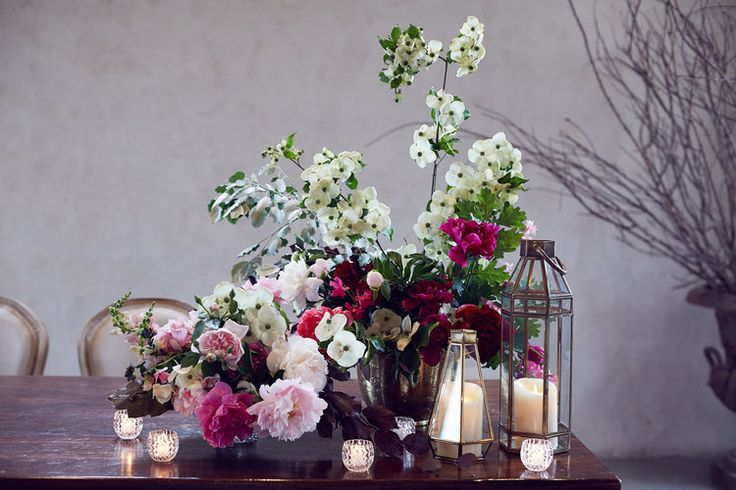 Flower arrangements #beautiful #flowers #pink #weddings #candles #romantic #modern