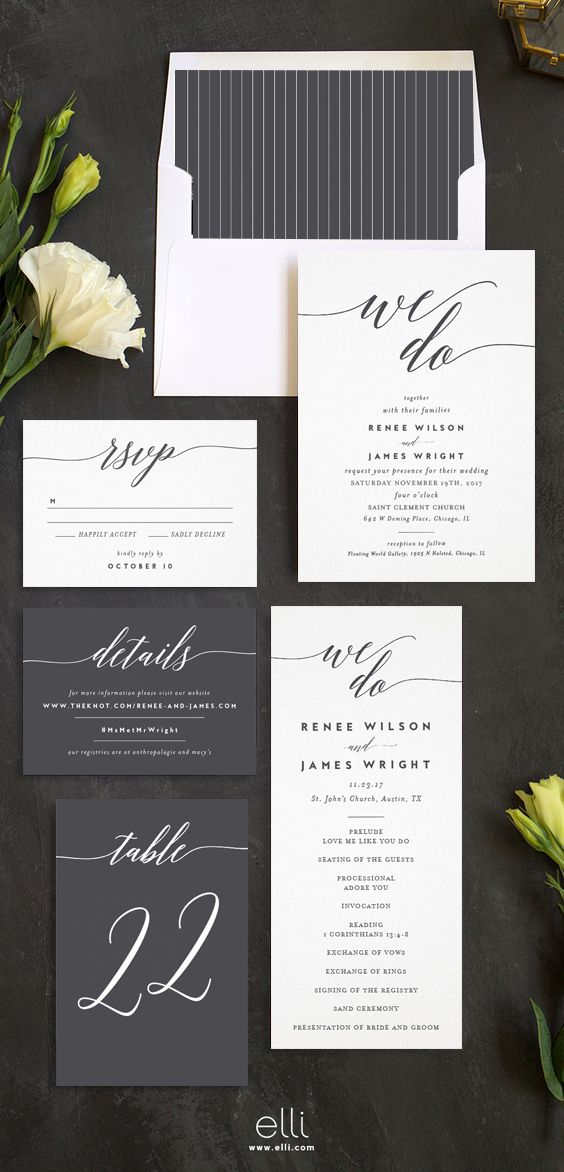 small wedding ceremony invitations%0A We Do Wedding Invitation Suite in grey and white