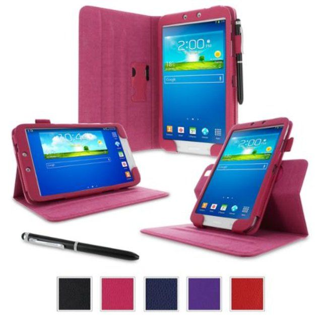 """I'm learning all about rooCASE Samsung Galaxy Tab 3 8.0 Case - Dual View Multi-Angle Stand Tablet 8-Inch 8"""" Cover - MAGENTA (With Auto Wake / Sleep Cover) at @Influenster!"""