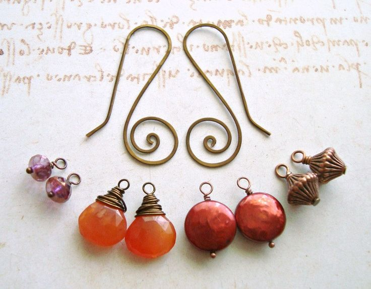 Autumn Interchangeable Earrings, Hammered Copper Mix and Match Earrings, Carnelian Dangle, Coin Pearl Dangle: Autumn Sunrise. $29.00, via Etsy.