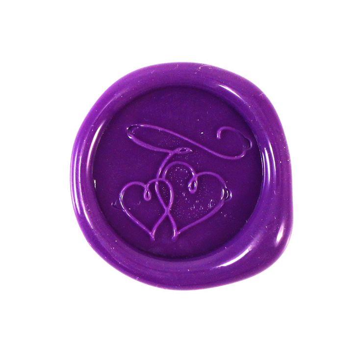 Double Hearts Wax Seals Purple