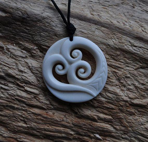 Handcarved Bone Trinity koru for Family unity & love by JackieTump, $119.00 New Zealand jewellery