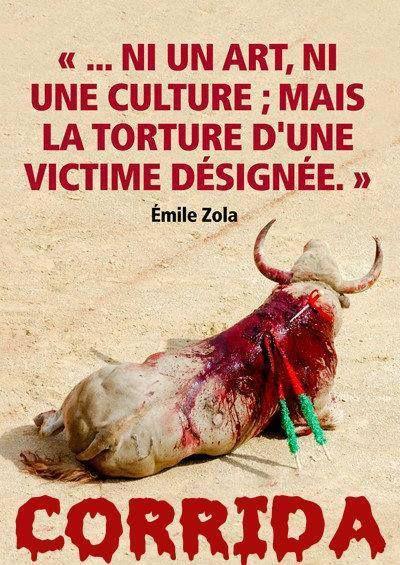 La corrida... ni un art, ni une culture, mais la torture d'une victime désignée. (Emile ZOLA)