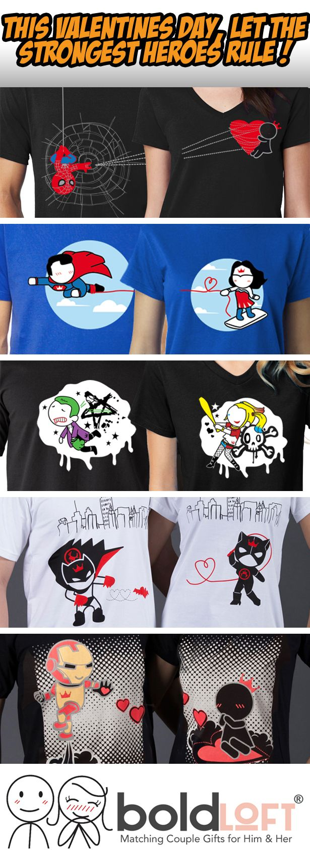 This Valentine's Day, let the strongest heroes rule! BoldLoft superheroes' couples shirts for him and her. Best Valentine's Day gifts for boyfriend or husband.