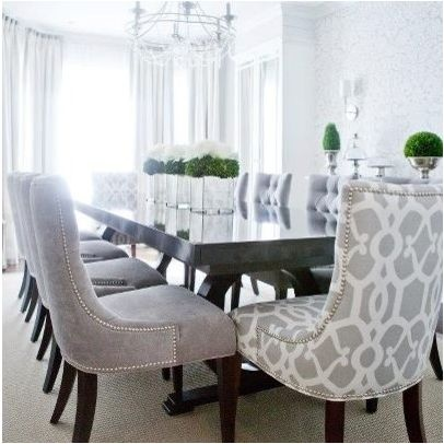 Pin by kelly bernier designs on dining room pinterest - Grey fabric dining room chairs designs ...