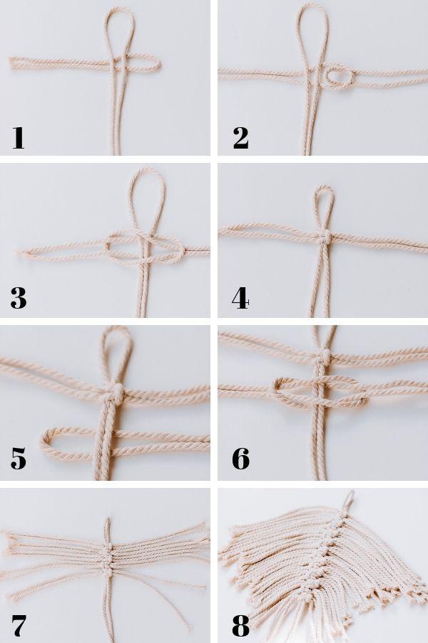 Erfahren Sie, wie man DIY Macrame Feathers macht! #macrame #macrameknots #macramediy
