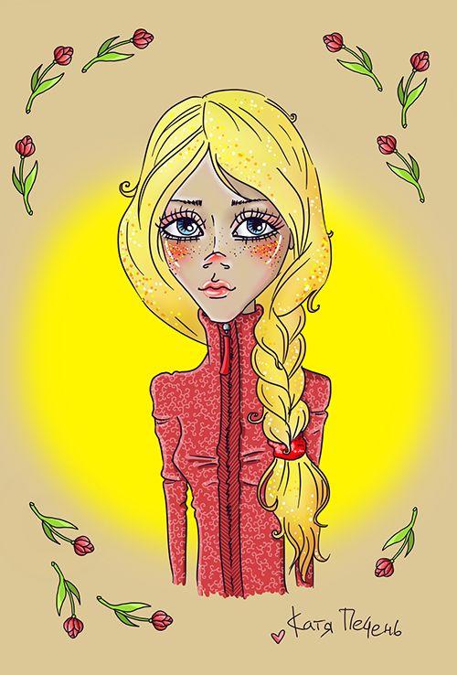 тюльпаны, конопушки, конопатая девушка, золотые волосы