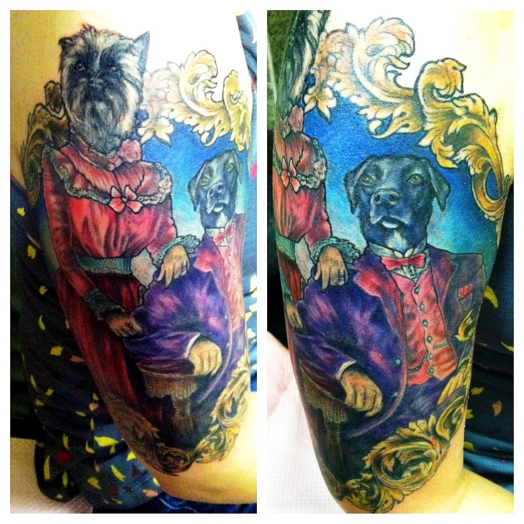 Completed victorian dog portrait tattoo by emily rose in