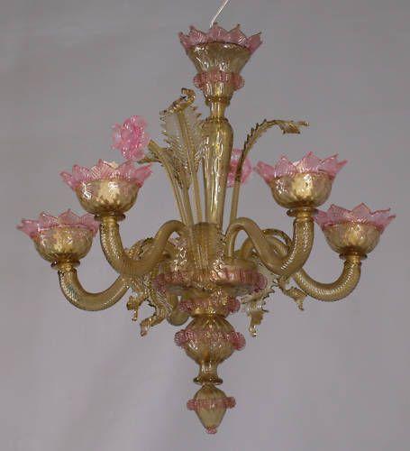 Florale Decken-Lampe Murano um 1900 25068002