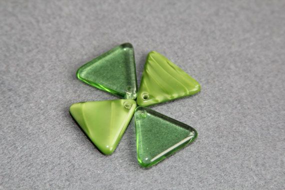 Pressed 22mm Triangle Czech Glass Triangular by BohemianSupplyCo