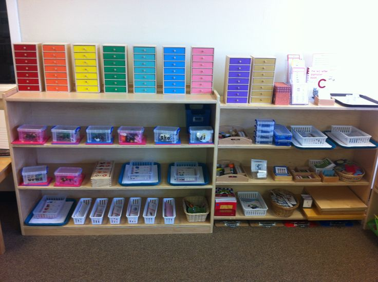 Classroom Design Activities : Montessori language shelves with beautiful waseca
