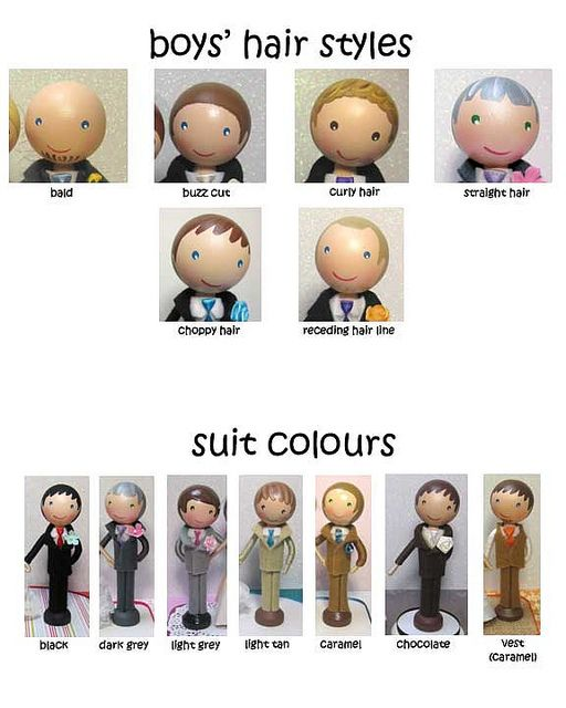 Boy Hair Styles for Peg Dolls (link goes to flickr with LOTS of peg doll ideas)