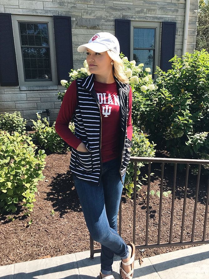 Tailgating Clothes with Vests, Hats, Birkenstocks, and more - on Kylie Morgan Blog
