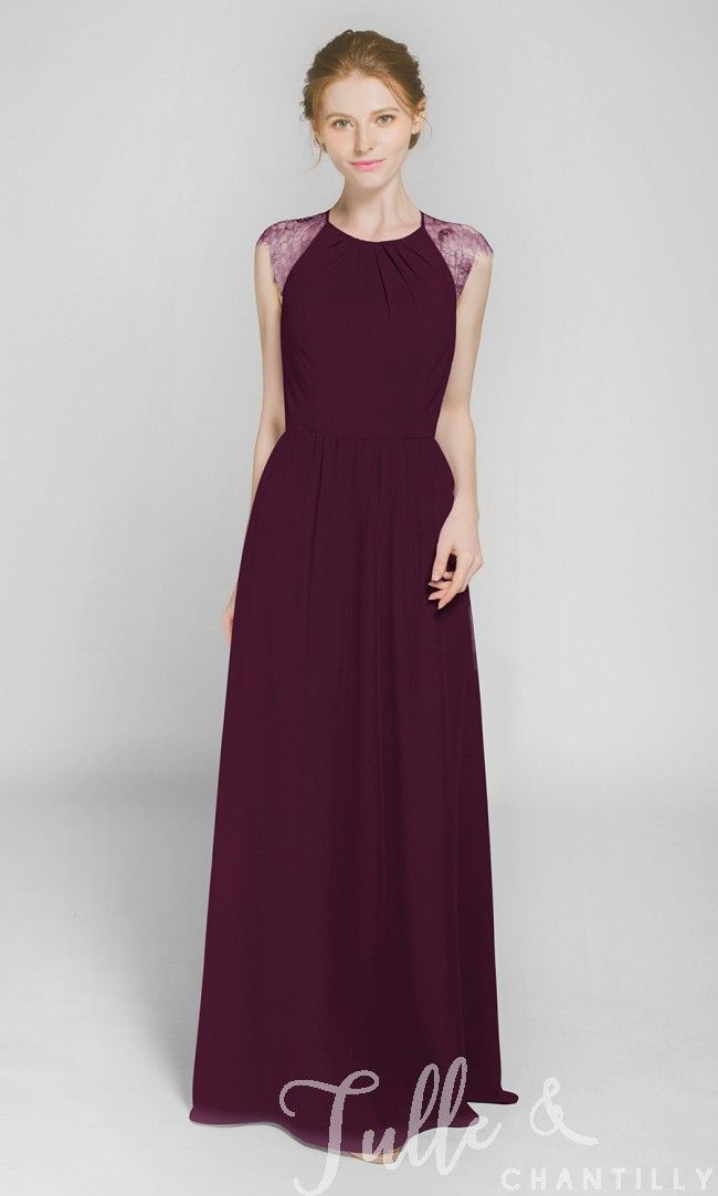 Graceful Long Chiffon Bridesmaid Dress with Lace Back TBQP369 click for 40+ colors