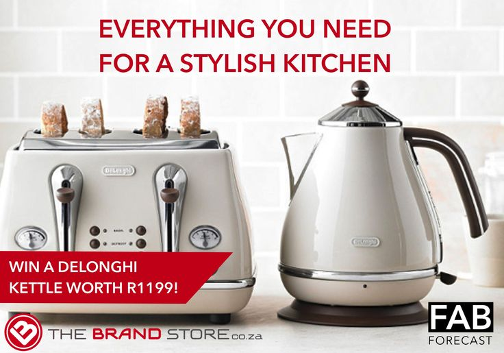 WIN a Delonghi kettle worth R1199! Find everything you need for a stylish kitchen from accessories to large appliances at thebrandstore.co.za!