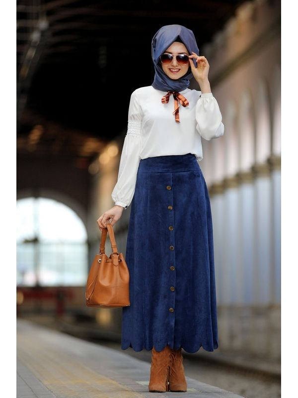 Blue High Waisted Button Down Skirt