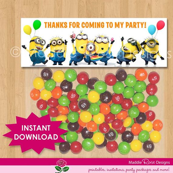 Despicable Me Favor Bag Toppers